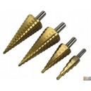 Sada stupňovitých vrtáků 4ks 4-32mm v dřev.krabičce,FT1432
